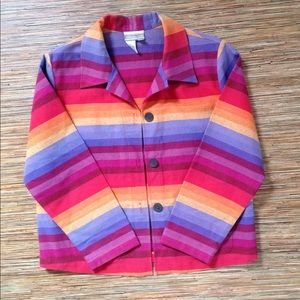 Coldwater Creek Jacket Multicolor Rainbow Stripe